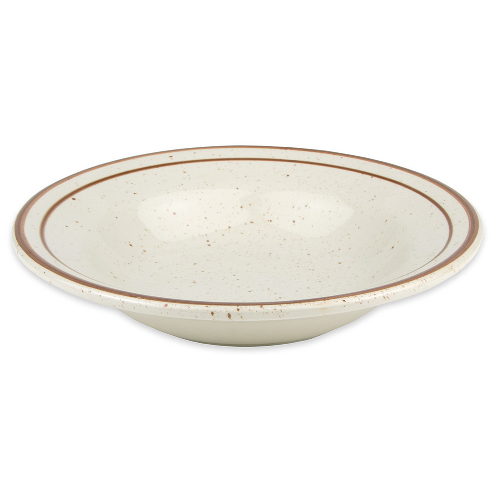 "World Tableware DSD-3 8.75"" Desert Sand Soup Bowl - Speckled, (2) Brown Bands"