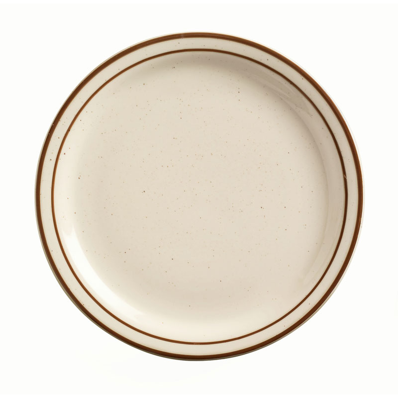 "World Tableware DSD-8 9"" Desert Sand Plate - Speckled, (2) Brown Bands"