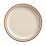 "World Tableware DSD-9 9.5"" Desert Sand Plate - Speckled, (2) Brown Bands"