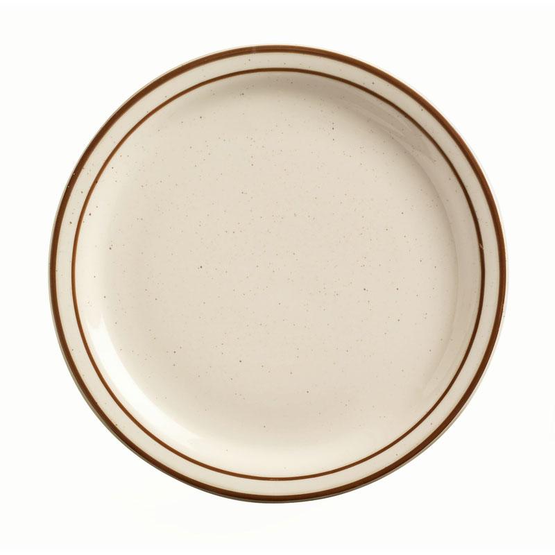 "World Tableware DSD-9 9.5"" Desert Sand Plate - Speckled, (2) Brown Bands"