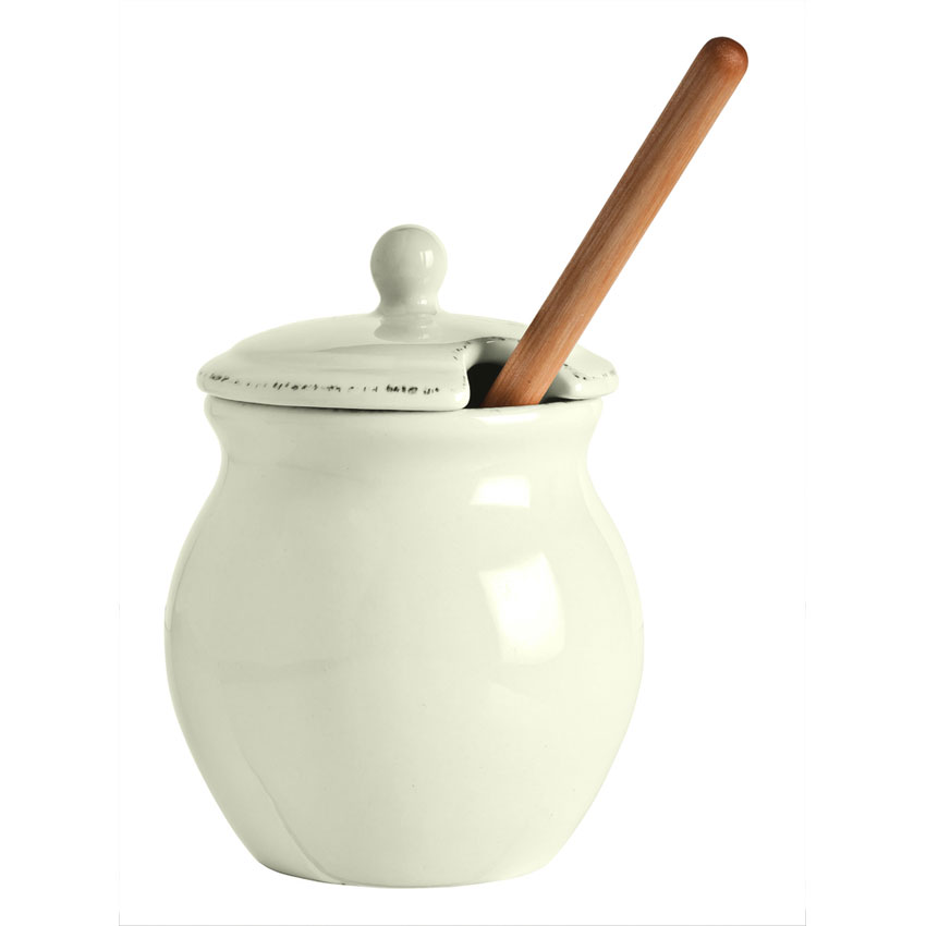 "World Tableware FH-300HP 6-oz Honey Pot w/ Lid & 9"" Dipper, Cream White"