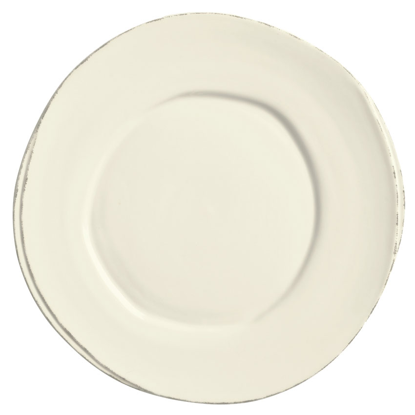 "World Tableware FH-503 10-1/2"" Round Plate - Ceramic, Cream White, Wide Rim"