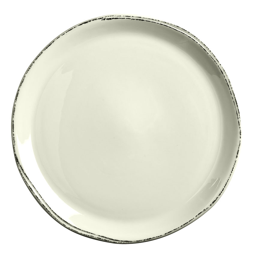 "World Tableware FH-527 13-1/2"" Farmhouse Round Pizza Plate - Porcelain, Ultra Bright White"