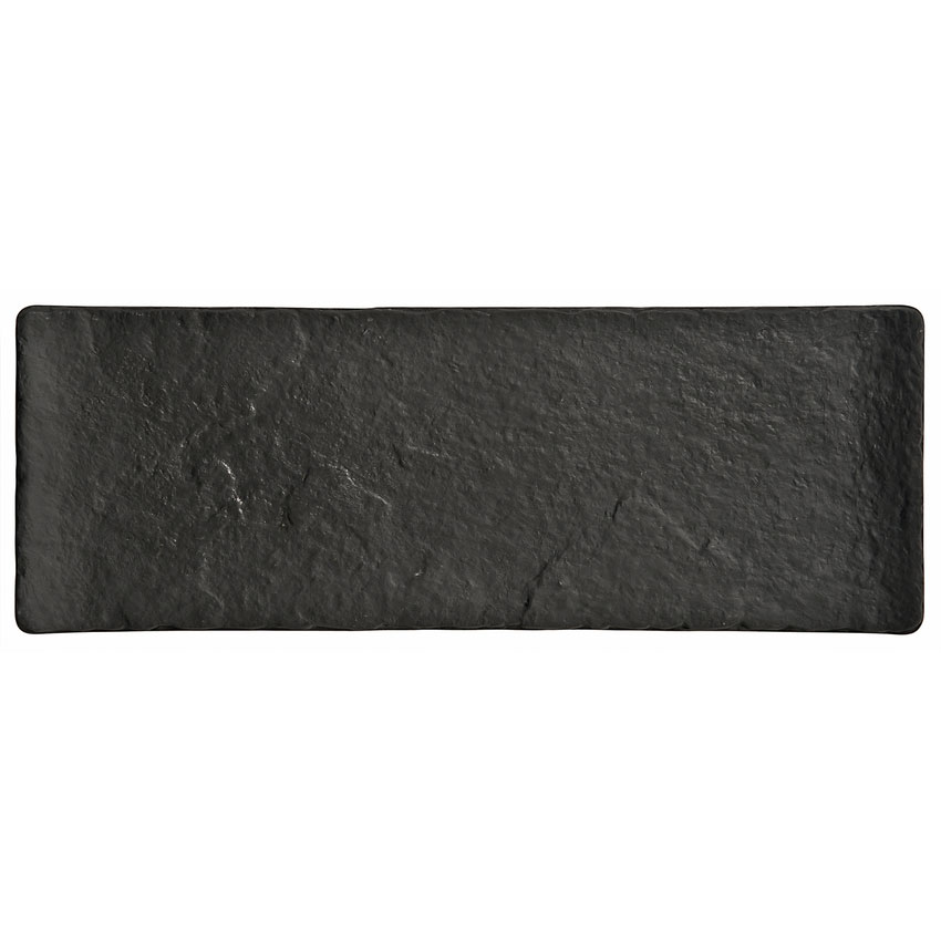 "World Tableware FS-25 Rectangular Ceramic Tray - 12-1/2x4-1/2"" Black"