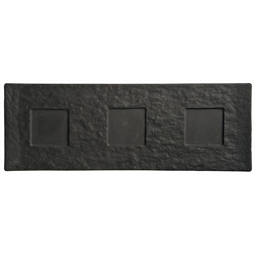 "World Tableware FS-27 Rectangular Ceramic Tray - 16-1/2x6"" Black"