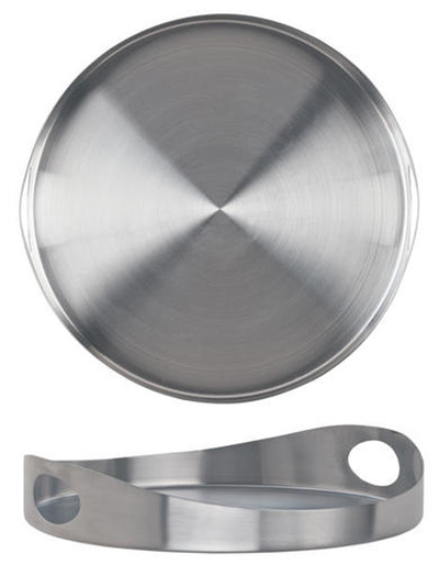 "World Tableware HT-12 12"" Round Tray with Handles - Stainless"