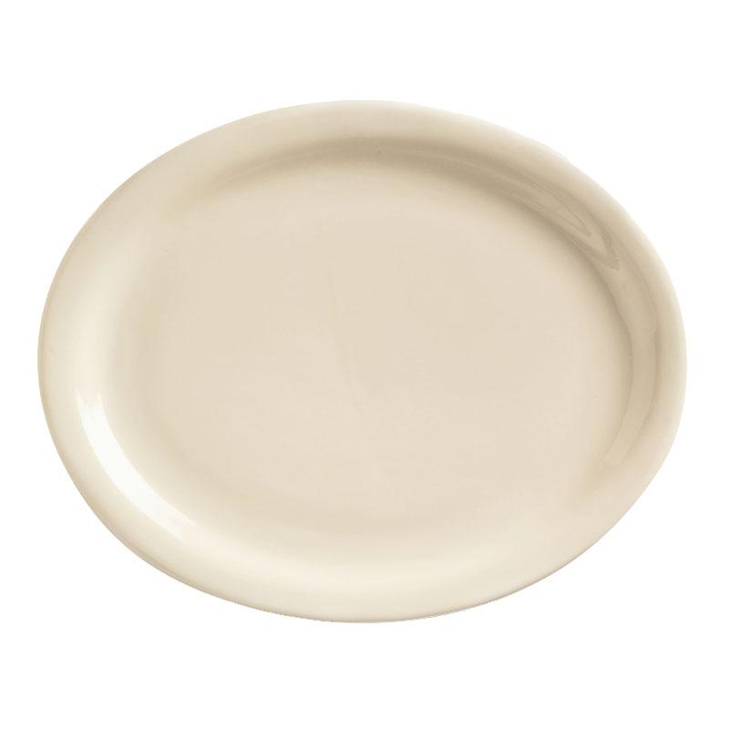 """World Tableware NR-14 13.25"""" Oval Platter w/ Narrow Rim, Cream White, Kingsmen Ultima"""