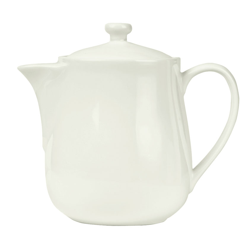 World Tableware POT-13 16-oz Pot with Lid - Porcelain, Bright White