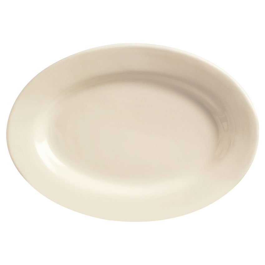 World Tableware PWC-34 Cream White Rolled Edge Platter, Princess Ultima, Oval