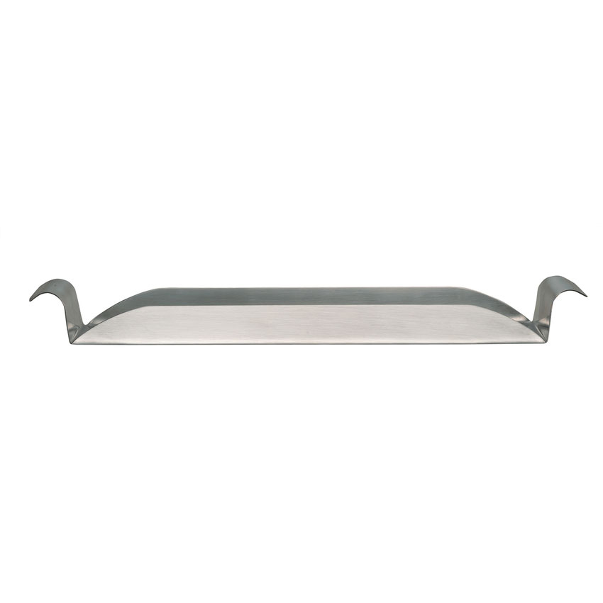 """World Tableware RHT-13 13.5"""" Rectangular Tray w/ Rolled Handle - Stainless"""