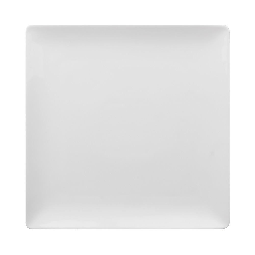 "World Tableware SL-10C 10-7/8"" Slate Square Coupe Plate -  Ultra Bright White, Porcelana"