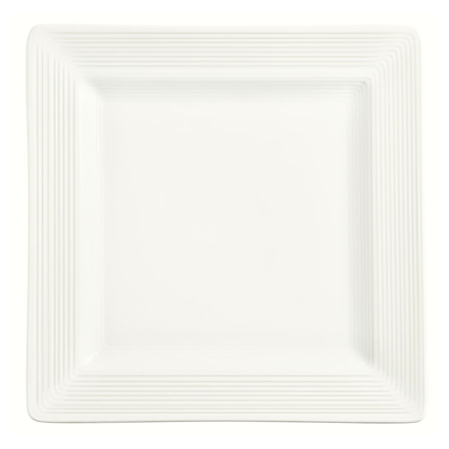 "World Tableware SL-10S 10-5/8"" Porcelana Square Plate - Porcelain, Ultra Bright White"