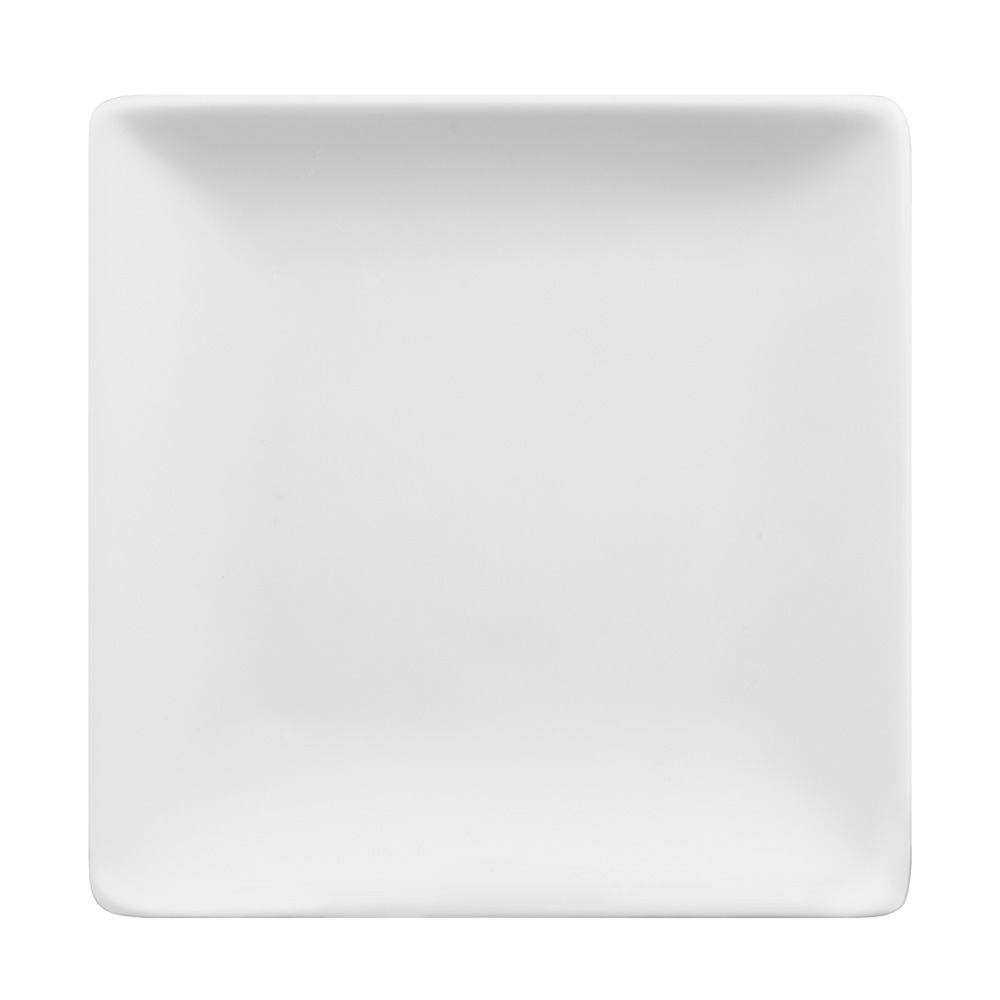 "World Tableware SL-9C 9-1/2"" Slate Square Coupe Plate -  Ultra Bright White, Porcelana"
