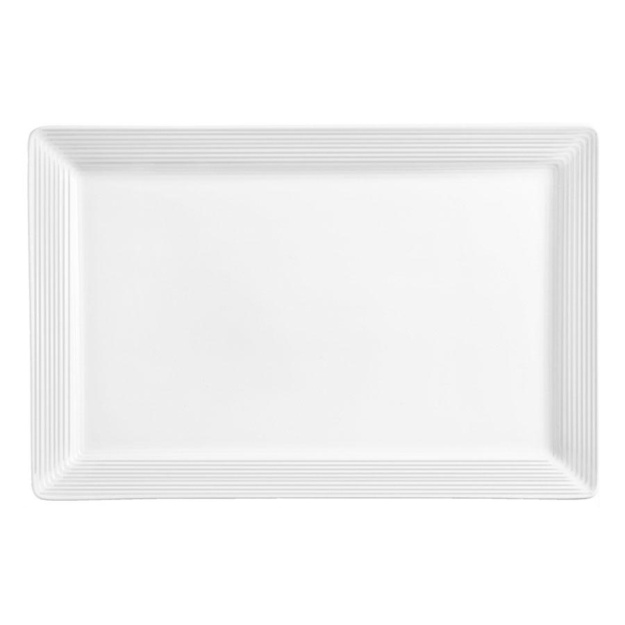 """World Tableware SL-22S Porcelana Rectangular Plate - 16x5-1/2"""" Porcelain, Ultra Bright White"""