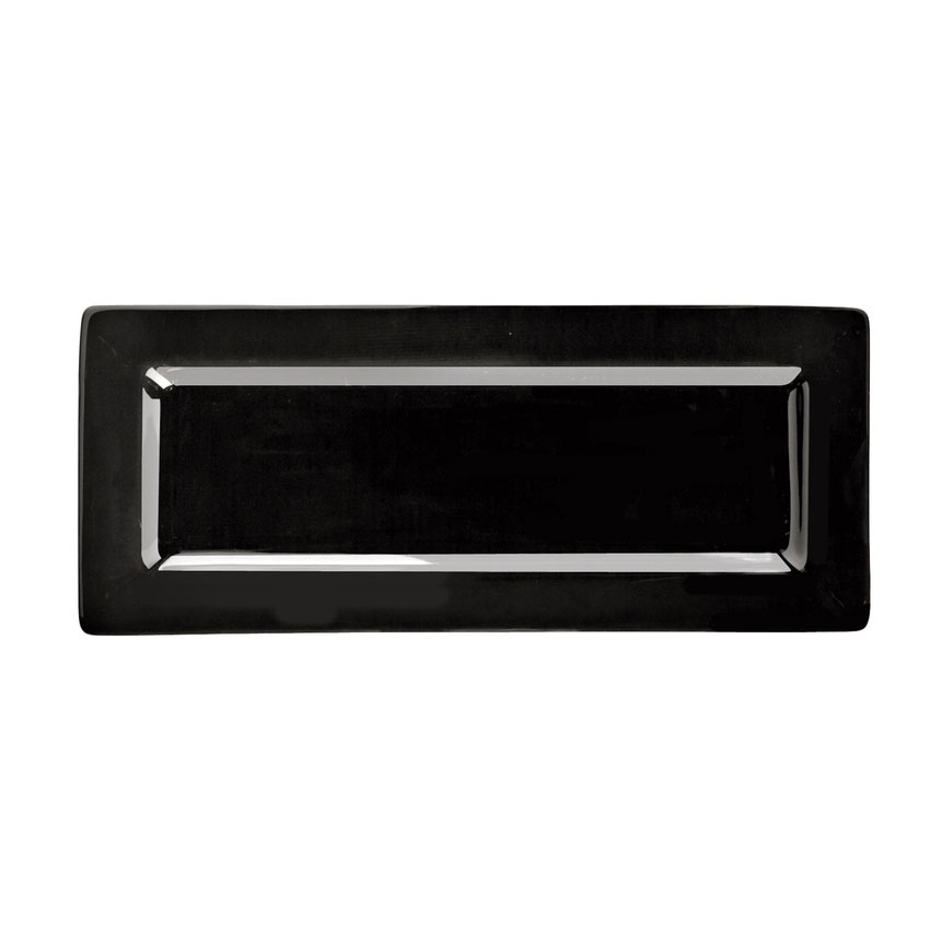 "World Tableware SL-24-B Rectangular Porcelain Plate, 10.5x4.37"", Black, Porcelana, Slate"