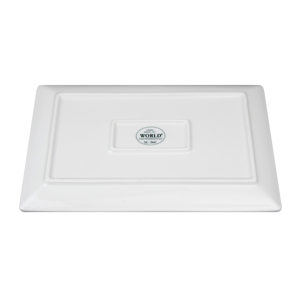 "World Tableware SL-26C Rectangular Slate Coupe Porcelain Tray - 12x8"" Ultra Bright White"
