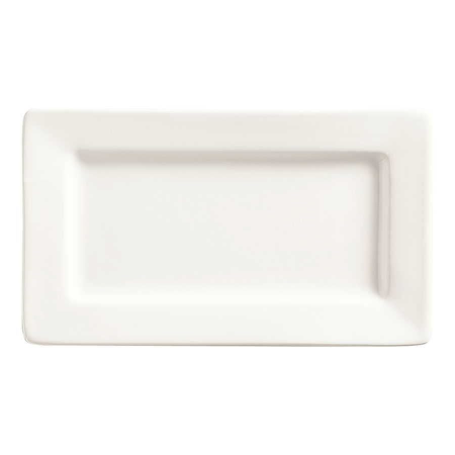"World Tableware SL-33 Rectangular Porcelain Plate, 7.5x4.5"", Bright White, Slate"