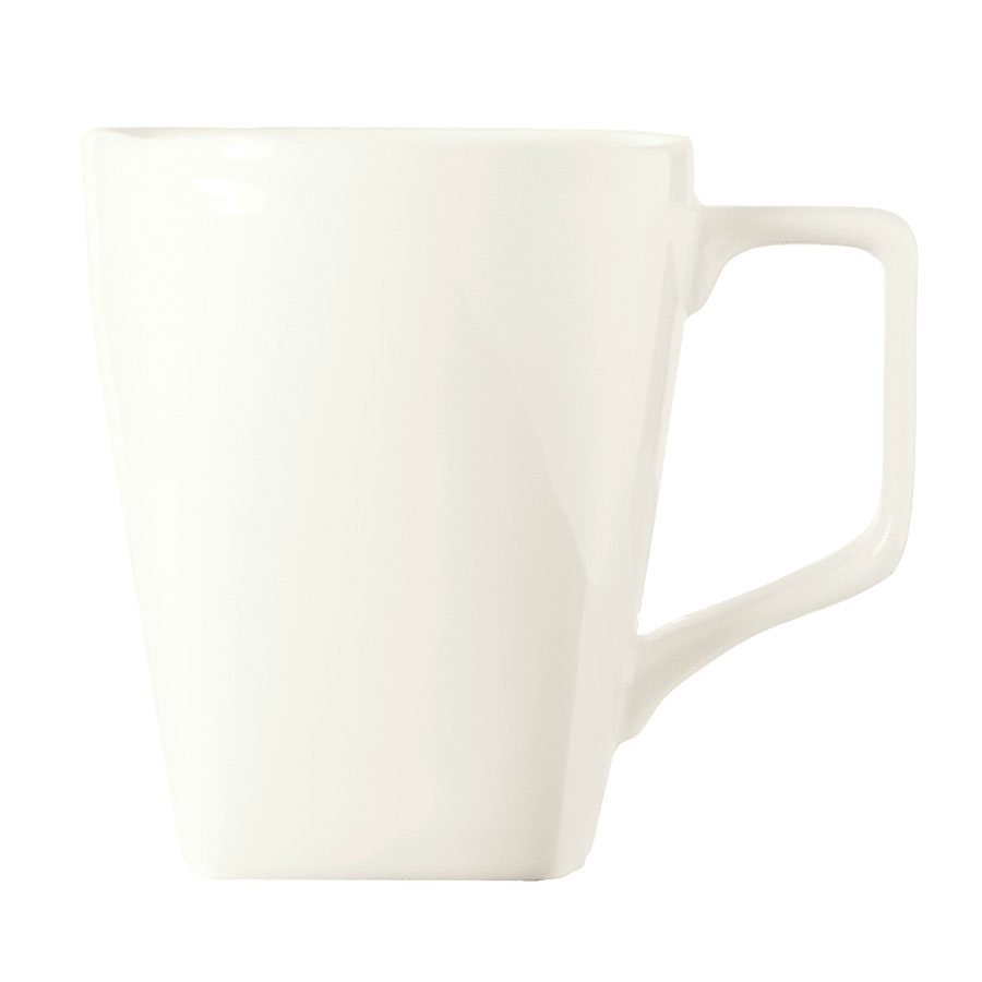 "World Tableware SL-36 4.25"" Mug - 12.25-oz, Squared, Porcelain, Ultra Bright White"
