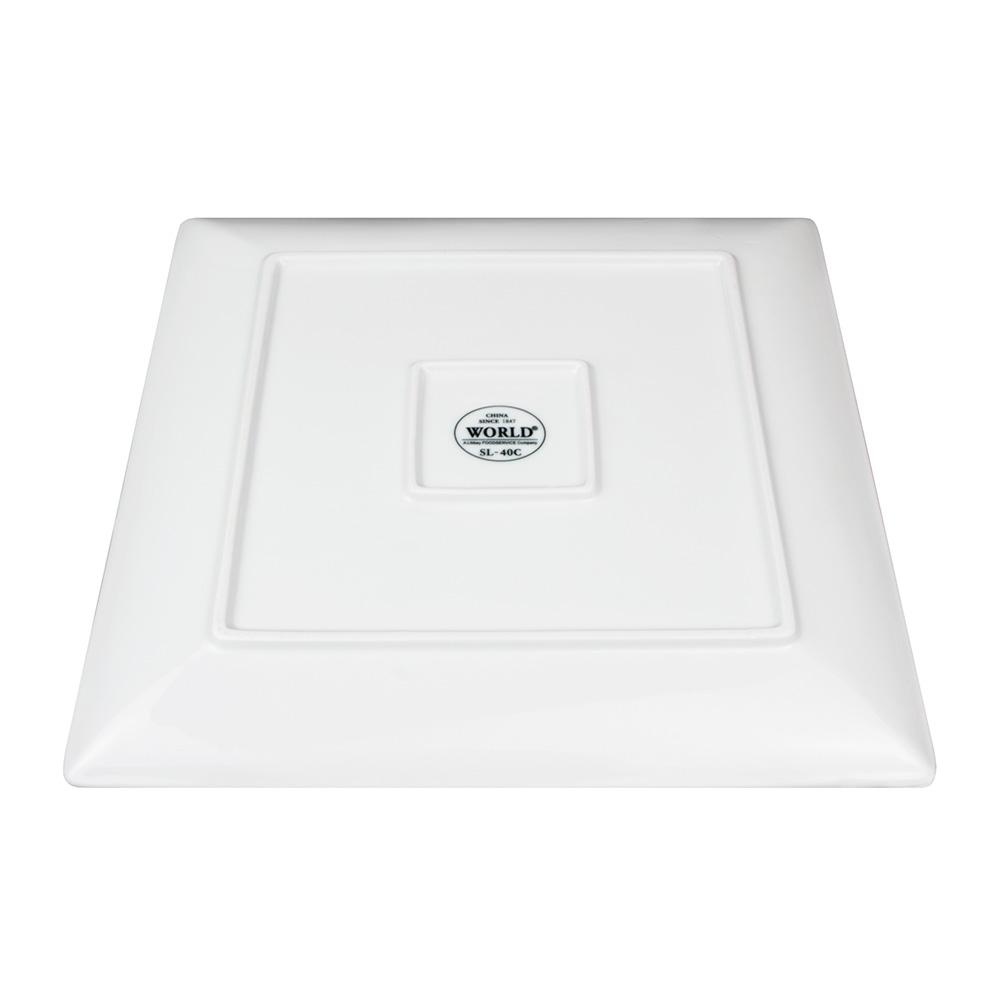 "World Tableware SL-40C 12"" Slate Square Coupe Plate -  Ultra Bright White, Porcelana"