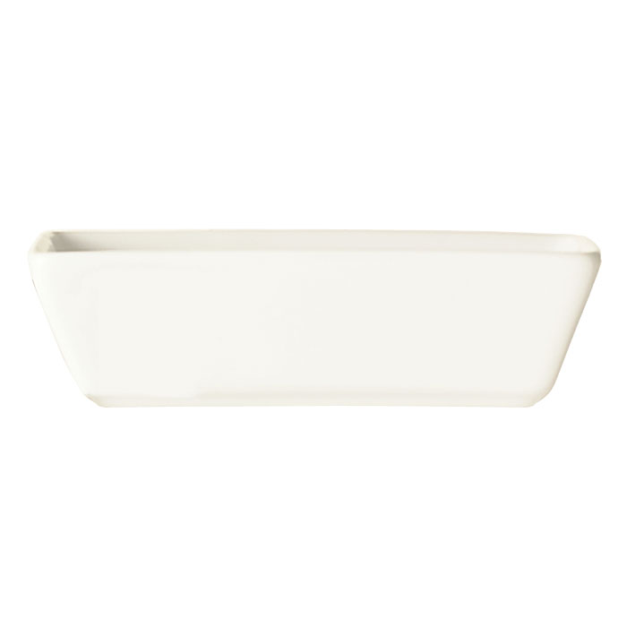 "World Tableware SL-4 4-oz Rectangular Porcelain Sauce Bowl, 4.25x2.5"", Bright White, Slate"