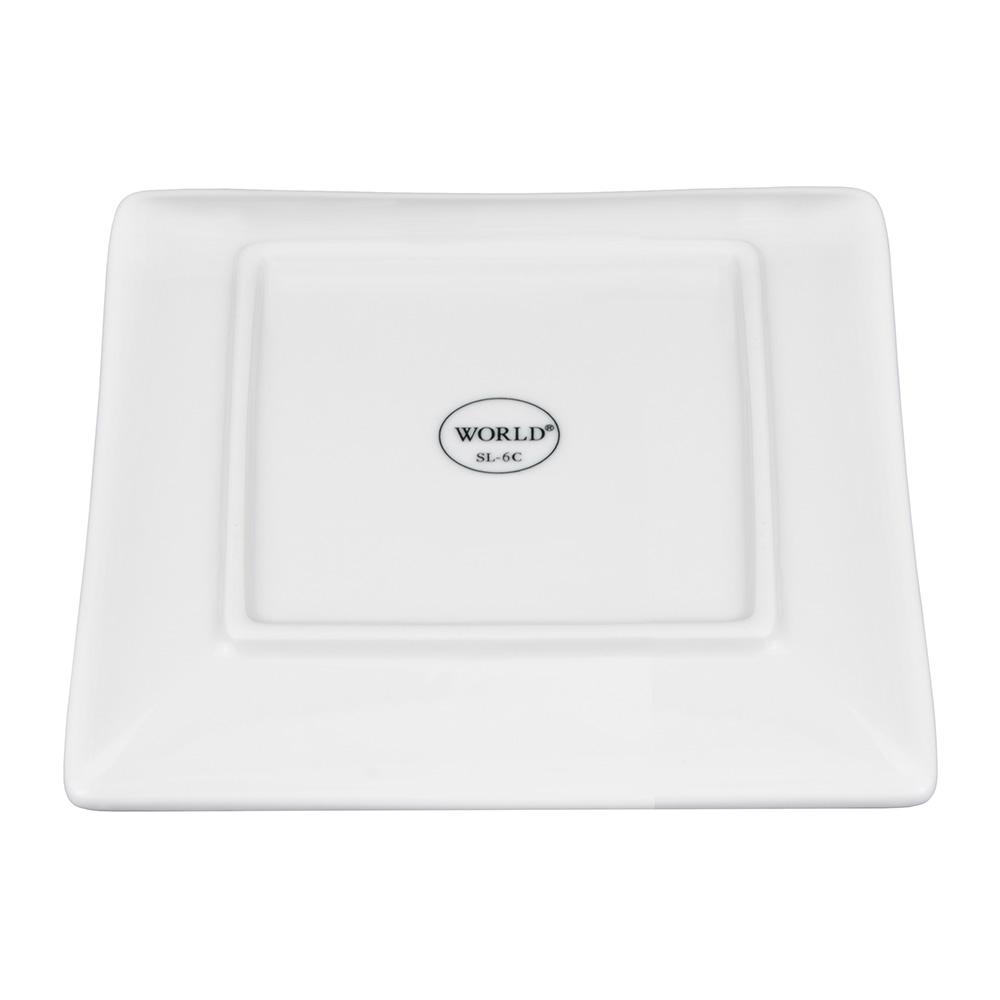 "World Tableware SL-6C 6-1/4"" Slate Square Coupe Plate -  Ultra Bright White, Porcelana"