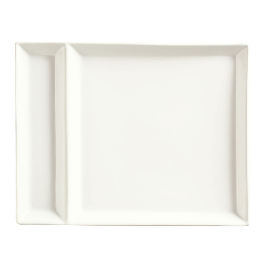 "World Tableware SL-900 Slate Rectangular Cocktail Plate - 9"" x 7"", Porcelain, Ultra Bright White"