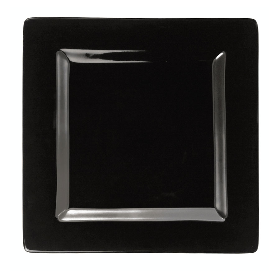 "World Tableware SL-9-B 9"" Square Porcelain Plate, Black, Slate"