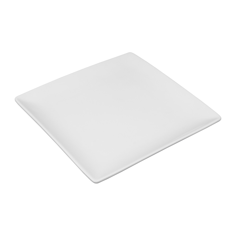 "World Tableware SL-9C 9-1/2"" Slate Square Coupe Plate -  Ultra Bright White, Porcelana"