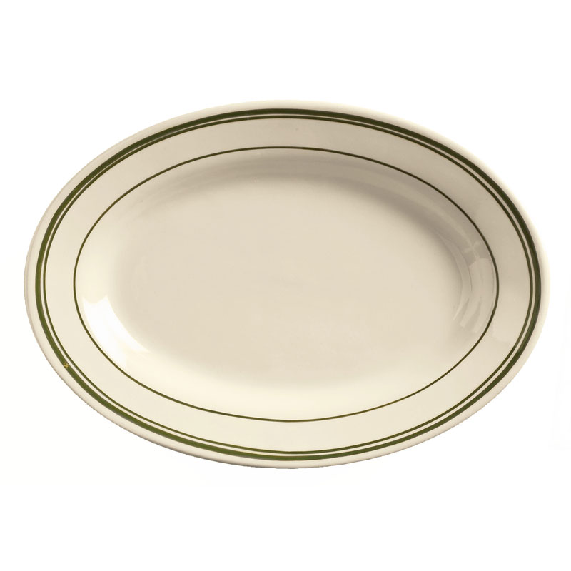 World Tableware VIC-14 Viceroy Platter - Plain, (3) Green Bands