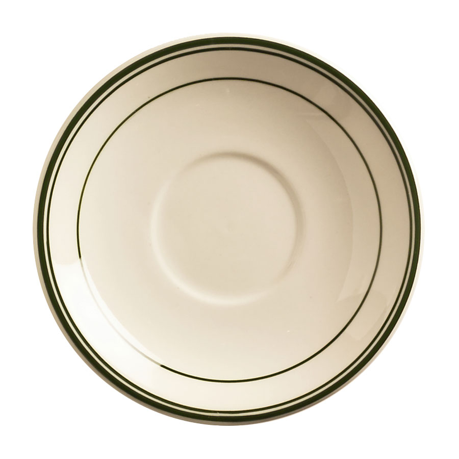 "World Tableware VIC-2 6"" Viceroy Saucer - Plain, (3) Green Bands"