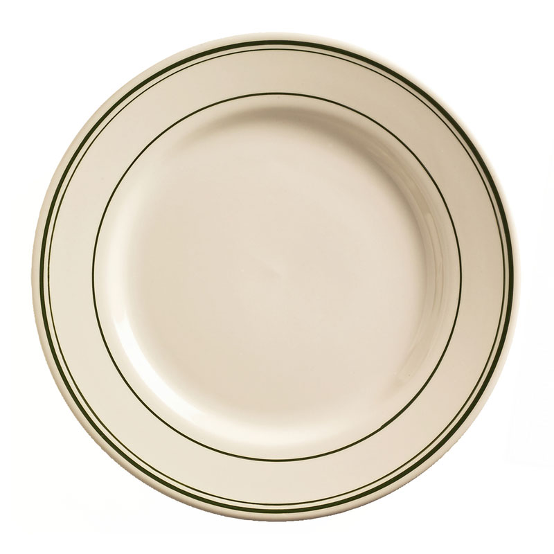 "World Tableware VIC-8 9"" Viceroy Plate - Plain, (3) Green Bands"