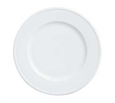 "World Tableware 150210315 12-1/2"" Empire Wide Rim Plate - Porcelain, Bright White"