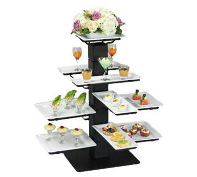 "World Tableware BT-1C 10-3/4"" Banquet Tree Square Plate Holder - Iron, Black"
