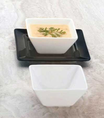 "World Tableware SL-111 4.5"" Square Porcelain Bowl w/ 11-oz Capacity, Ultra Bright White, Slate"