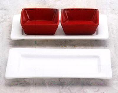 """World Tableware SL-33 Rectangular Porcelain Plate, 7.5x4.5"""", Bright White, Slate"""