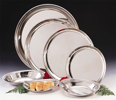 World Tableware 764105 12-in Round Tray w/ Rolled Edge, 18/8-Stainless