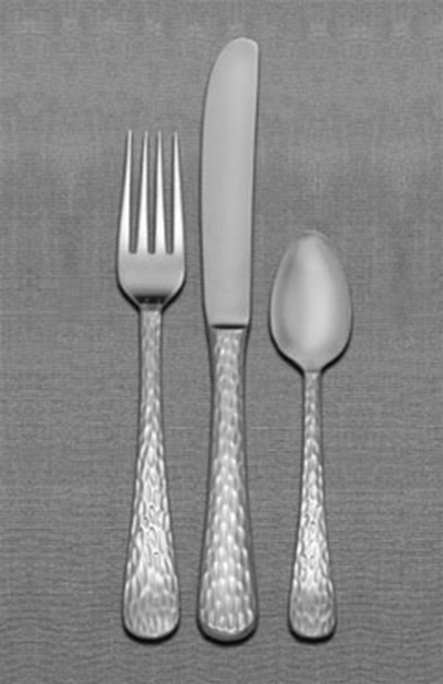 World Tableware 794030 Hammered Utility Fork w/ Mirror Finish, Medium Weight, 18/0-Stainless, Aspire