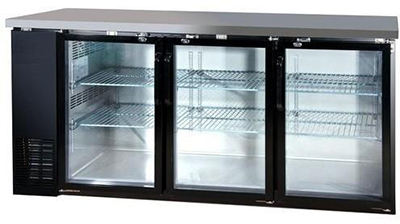 "Metalfrio MBB24-72G 72"" (3) Section Bar Refrigerator - Swinging Glass Doors, 115v"