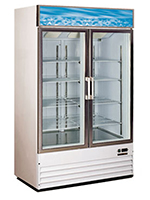 "Metalfrio D768BM2F 49.3"" Two-Section Display Freezer w/ Swinging Door - Bottom Mount Compressor, 115v"
