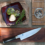 "Shun DM0706 Shun Classics Chef's Knife, 8"" Blade, D Shaped PakkaWood Handle"