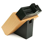 Shun DM0836 6-Slot Beech Wood Configured Knife Block w/ Black-Lacquered Slots and Pedestal