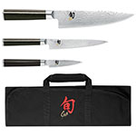 Shun DMS0499 4-Piece Student Boxed Set 3.5-in Paring 6-in Utility 8-in Chefs Shun Knife Roll