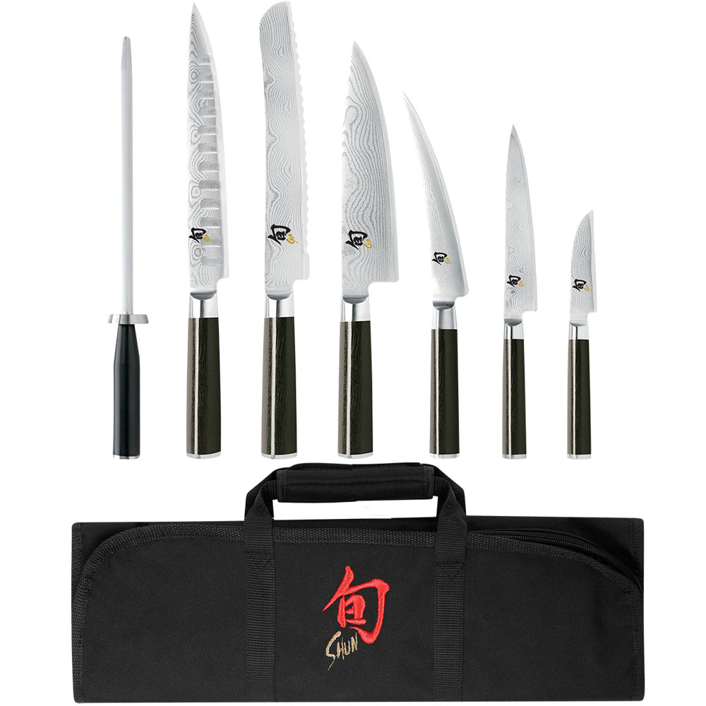 Shun DMS0899 8-Piece Student Set w/ Paring Utility Chefs Bread Slicing Boning Honing Steel