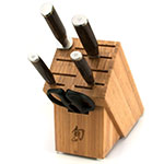 Shun TDMS0600 6-Piece Basic Block Set Paring Serrated Utility Chef Honing Steel Shear Block