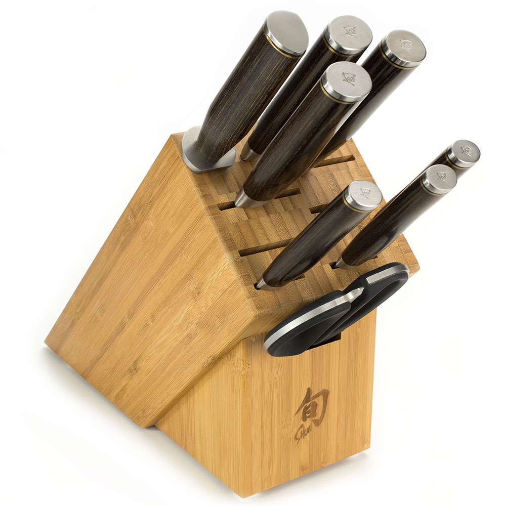 Shun TDMS0900 9-Piece Gourmet Block Set, Hammered Blades, 11-Slot Block