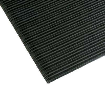 "Notrax 434396 Comfort Rest Anti-Fatigue Floor Mat, 3 x 5 ft, 3/8"" Thick, Ribbed, Coal"