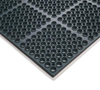 "Notrax T26U3919BL Hercules Economy General Purpose Floor Mat, 39 x 19-1/2 in, 7/8"" Thick, Black"