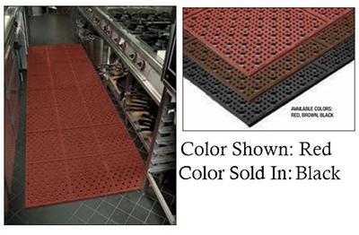 Notrax 1000-013-2BK Reversible Drainage Floor Mat w/ 2-ft Custom Rolls, Rubber, Non-Skid, Black