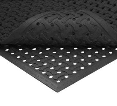 "Notrax 1002250 Superflow Reversible Grease Resistant Floor Mat, 3 x 5 ft, 5/8"" Thick, Black"