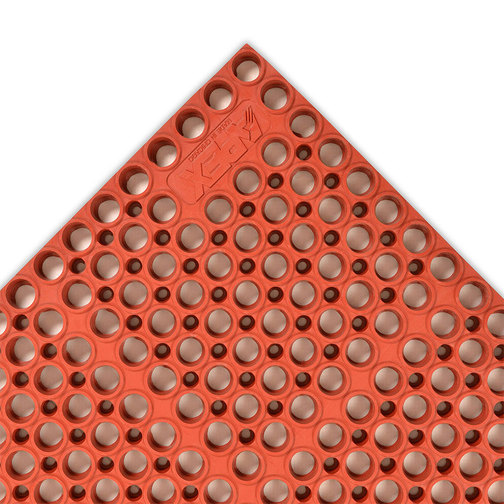"Notrax 182766 San-Eze II Grease-Proof Floor Mat, 39 x 58-1/2 in, 7/8"" Thick, Red"